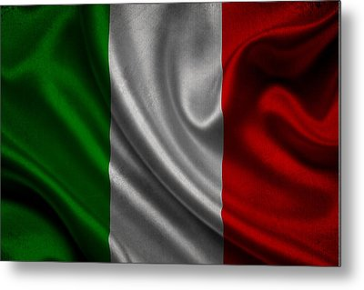 Italian Flag Waving On Canvas Metal Print by Eti Reid