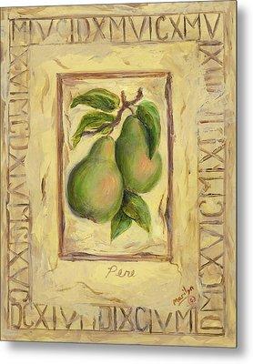 Italian Fruit Pears Metal Print by Marilyn Dunlap