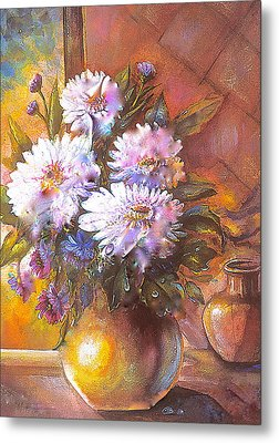 Metal Print featuring the painting Italian Mums In Gold by Patricia Schneider Mitchell