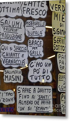 Italian Restaurant Meals Displayed On Window Metal Print by Sami Sarkis