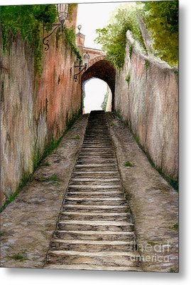 Italian Walkway Steps To A Tunnel Metal Print