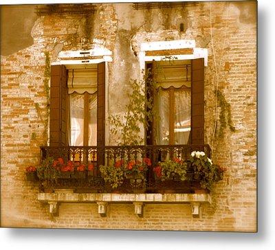 Italian Windowbox 3 Metal Print by Teresa Tilley