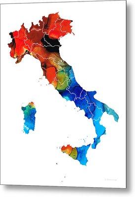Italy - Italian Map By Sharon Cummings Metal Print