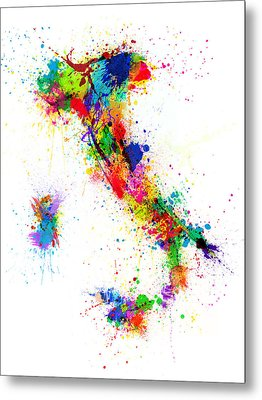 Italy Map Paint Splashes Metal Print by Michael Tompsett