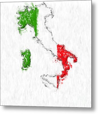 Italy Painted Flag Map Metal Print by Antony McAulay