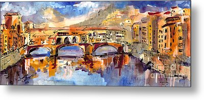 Italy Ponte Vecchio Florence Metal Print by Ginette Callaway