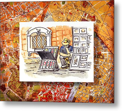 Italy Sketches Florence Art Fair At San Lorenzo Cathedral Metal Print by Irina Sztukowski