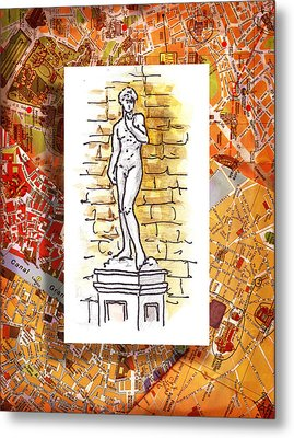 Italy Sketches Michelangelo David Metal Print