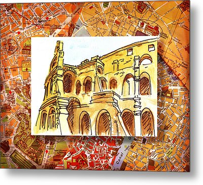 Italy Sketches Rome Colosseum Ruins Metal Print