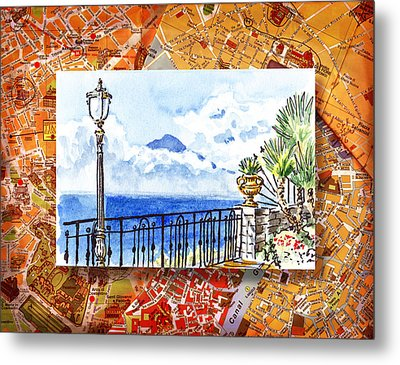 Italy Sketches Sorrento View On Volcano Vesuvius  Metal Print by Irina Sztukowski