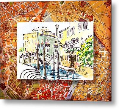 Italy Sketches Venice Canale Metal Print by Irina Sztukowski