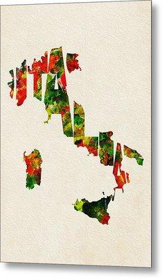 Italy Typographic Watercolor Map Metal Print by Ayse Deniz