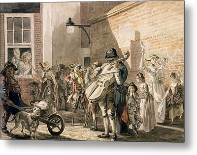 Itinerant Musicians Playing In A Poor Metal Print