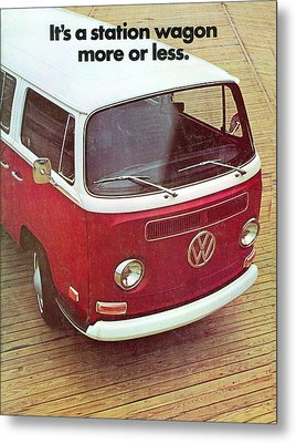It's A Station Wagon More Or Less - Vw Camper Ad Metal Print by Georgia Fowler