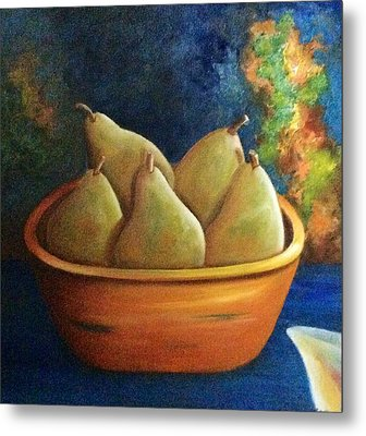 Metal Print featuring the painting It's All About Pears  Sold by Susan Dehlinger