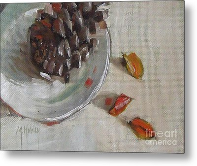 Pine Cone Still Life On A Plate Metal Print by Mary Hubley