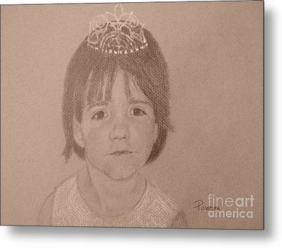 Metal Print featuring the drawing It's Not Easy Being Queen by Mary Lynne Powers