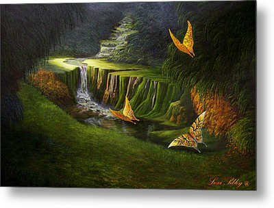 Metal Print featuring the painting Peaceful by Loxi Sibley