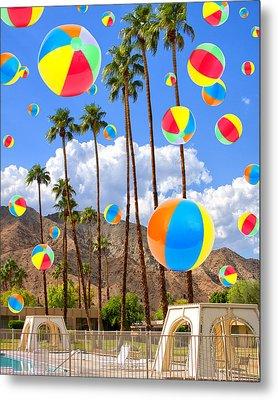 Its Raining Beach Balls Palm Springs Metal Print by William Dey