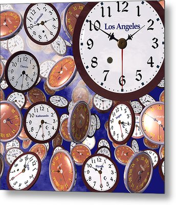 It's Raining Clocks - Los Angeles Metal Print