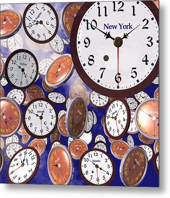 It's Raining Clocks - New York Metal Print
