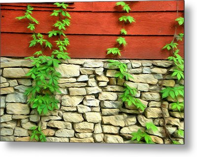 Ivy On Stone And Wood Metal Print by Jeffrey Kolker