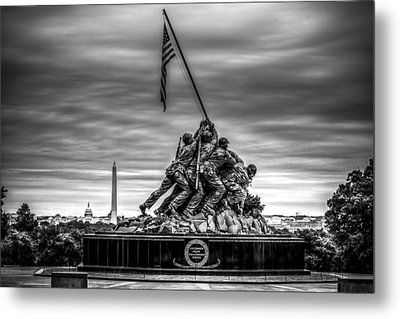 Iwo Jima Monument Black And White Metal Print