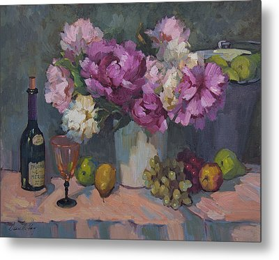 J. P. Chenet And Peonies Metal Print by Diane McClary