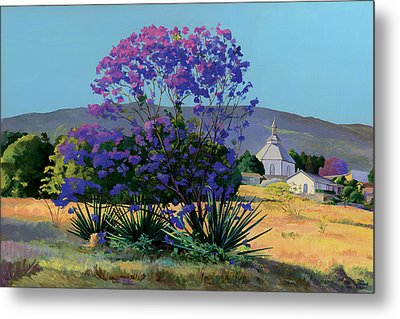 Jacaranda Holy Ghost Church In Kula Maui Hawaii Metal Print by Don Jusko