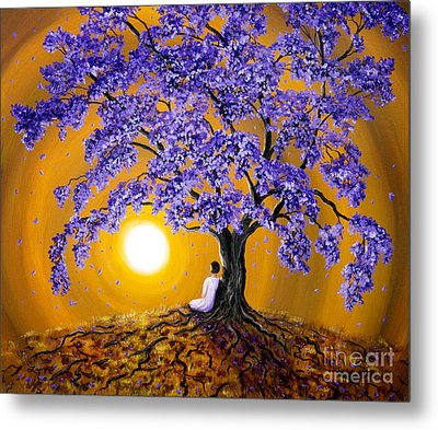Jacaranda Sunset Meditation Metal Print