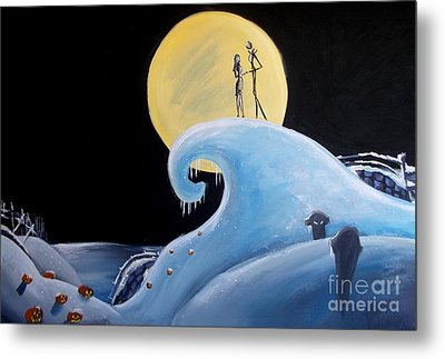 Metal Print featuring the painting Jack And Sally Snowy Hill by Marisela Mungia