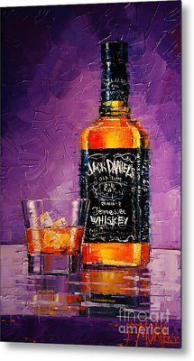 Still Life With Bottle And Glass Metal Print by Mona Edulesco