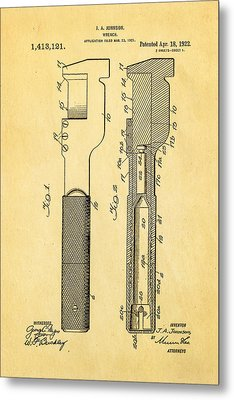 Jack Johnson Wrench Patent Art 1922 Metal Print by Ian Monk