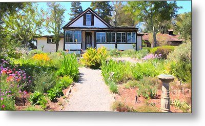Jack London Countryside Cottage And Garden 5d24565 Long Metal Print by Wingsdomain Art and Photography