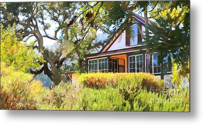 Jack London Countryside Cottage And Garden 5d24570 Long Metal Print by Wingsdomain Art and Photography
