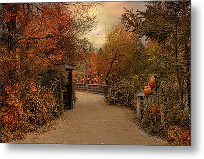 Jack-o-lantern Lane Metal Print by Robin-Lee Vieira