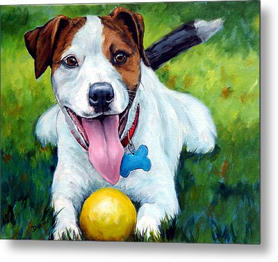 Jack Russell With Yellow Ball Metal Print by Dottie Dracos
