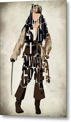 Jack Sparrow Inspired Pirates Of The Caribbean Typographic Poster Metal Print