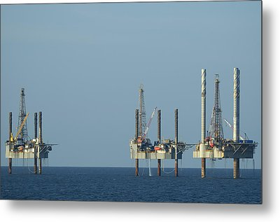 Metal Print featuring the photograph Jack Up Well Platforms by Bradford Martin