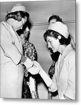 Jackie Inspects Gold Bracelet Metal Print by Underwood Archives