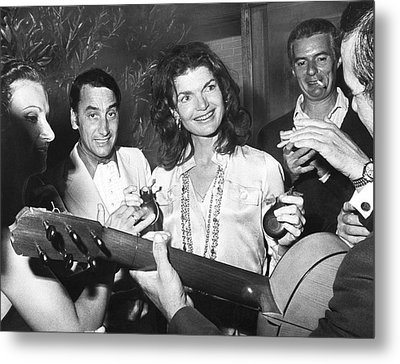Jackie Kennedy Playing Music Metal Print by Underwood Archives