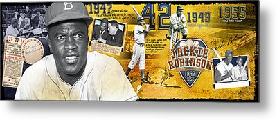 Jackie Robinson Panoramic Metal Print by Retro Images Archive