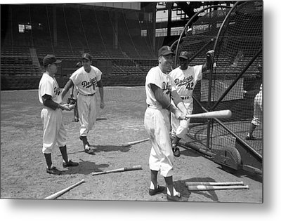 Jackie Robinson And Duke Snider  Metal Print