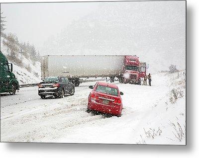 Jacknifed Truck Blocking Highway Metal Print by Jim West