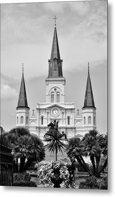 Jackson Square In Black And White Metal Print by Bill Cannon