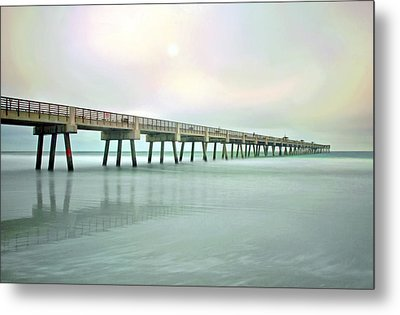 Jacksonville Beach Pier Metal Print by Marion Johnson