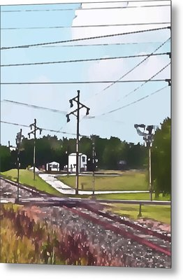 Jacksonville Il Rail Crossing 3 Metal Print by Jeff Iverson