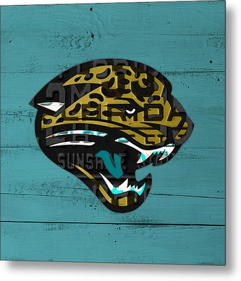 Jacksonville Jaguars Football Team Retro Logo Recycled Florida License Plate Art Metal Print by Design Turnpike