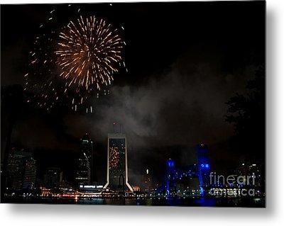 Jacksonville Skyline Fireworks Metal Print