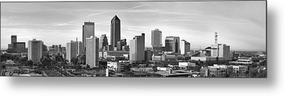 Metal Print featuring the photograph Jacksonville Skyline Morning Day Black And White Bw Panorama Florida by Jon Holiday